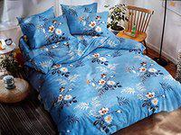 Snyter Hand Printed 240 TC Double Bed Bedsheet with 2 Pillow Covers - Soft Cotton - Size 90 x 100 Inches Approx - Blue