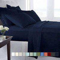 Impeccable Home 220 Tc Solid Premium Double Bedsheet with 2 Pillow Covers - Size 90 inch x 95 inch - (Navy Blue)