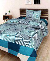 Dehati Store Single 3D Luxury Printed 180TC Polycotton Bedsheet with 1 Pillow Cover (Aqua)