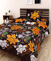 Dehati Store Single 3D Luxury Printed 180TC Polycotton Bedsheet with 1 Pillow Cover (Yellow)