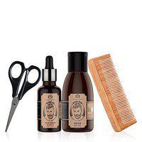 The Man Company Beard Box | Argan & Geranium- Beard Oil, Beard Wash, Comb & Scissors | Made in India