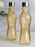 Goodhomes Glass Bottle in Golden Brown Colour with Airtight Cap for Water, Juice (Set of 2)