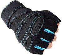 Leosportz Weight Lifting Wrist Support Gym & Fitness Gloves (Free Size, Red, Black) (Blue)