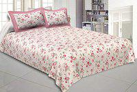 JaipurFabric Cotton 240 TC Bedsheet 240 TC Double bedsheet in Pink Bouquet Print