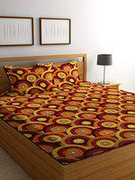 Luxury Crafts Polycotton 144TC Double Bedsheet with 2 Pillow Covers(Yellow)