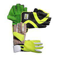 JetFire Youth Wicket Keeping Gloves with Leather Inner Gloves Age Group- (8-13 Years) Wicket Keeping Gloves (Green)