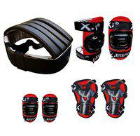 jaspo Polypropylene Secure Skating Protective Bundle for Age Group Up to 14 Years. (Head, Knee, Elbow, Wrist Cum Palm Guard Set, Red)