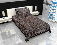 Aarav Cotton Printed Single Bedsheet and 2 Pillow Cover(AT-12)