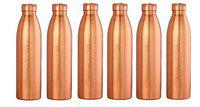 Ayur Patra ShreeJee Mart Ayurvedic Seam-Less Pure Copper Water Bottle (1000 ml/1 L) - Set of 6
