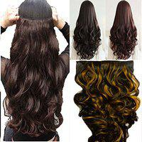 BLACKBOND (BB-85/3h27) 5 Clips Based Curly/Wavy Synthetic Fibre Hair Extension (Brown Gold Highlighte), 24-inches)