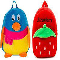 Blue Tree Velvet Kids School/Nursery/Picnic/Carry/Travelling Bag - 2 to 5 Age (_Best_Multi_Red_Duck&Strawberry)