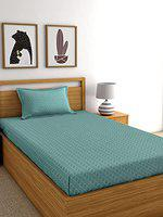 RD TREND Cotton Single Bedsheet(Size-60 X 90) with 1 Pillow Cover(Size-18 X 28) (Green)