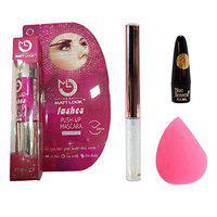 MATT LOOK Lashes Push Up Mascara Glitter Eyeliner Lead Free Kajal & Makeup Blender, Multicolour, (Pack of 4)
