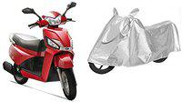 SHEEN Silver Universal Bike Cover for Mahindra Gusto (Dust Resistant, Sunlight Protection)