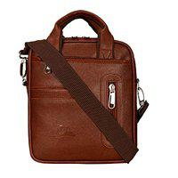 Leather Gifts Leatherette Sling Cross Body Messenger Bag Travel Organizer Men Girl Daily Use Tan