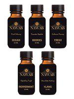 Nawab set of 5 exotic aroma diffuser oil 15ml each - Ocean, Berries, Fresh, Peppermint, Ylang-Ylang