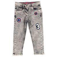 Tales & Stories Baby Girls Grey Embroidered Jeans
