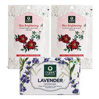 Organic Harvest Combo of Lavender Bathing Bar (125gm) and Skin Brightening Face Sheet Mask (20gm, Pack of 2), ECOCERT & PeTA Certified, Paraben & Sulphate Free
