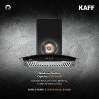 KAFF 60 cm 1150 m3/h Chimney (LUX BF 60, Black) Heavy Duty Baffle Filter   Black Tempered Curved Glass   Energy Saving Frosted LED