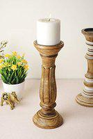 CASADECOR Suave Wooden Candle Stand Holder, Brown
