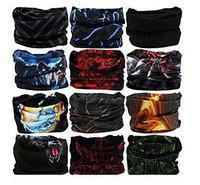 Yashinika Multicolour Pack of 12 Bandana Headband Face Mask, Outdoor Sport for Fishing, Cycling and Running(Assorted Color)