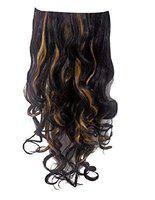 Majik Summer New Arrival Clip On Synthetic Curly Hair Extension For Women And Girls For Casual And Party Use 40 Grams Pack Of 1 (Black with golden Highlights)