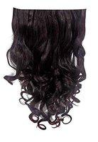 Majik Summer New Arrival Clip On Synthetic Curly Hair Extension For Women And Girls For Casual And Party Use 40 Grams Pack Of 1 (Black with Brown Highlights)