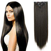 Morges Full Head Clip In Hair Extensions Long Straight Synthetic Hair Extensions 6 Clips Hairpieces For Women And Girls With Free Hair Bun Maker Tool In Dark Brown Color 40 Gram Pack Of 1