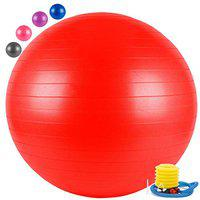 FITSY Anti-Burst Yoga Exercise Gym Ball with Foot Pump, 55 cm, Red (AR2232-RED)