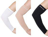 Never Lose Arm Sleeves with UV Protection for Sports & Driving (Black) 3 Pair (White, Skin & Black)