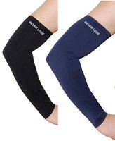 Never Lose Arm Sleeves with UV Protection for Sports & Driving (2 Pair) (Black & Blue)