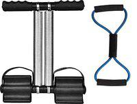 EMERET Tummy Trimmer Double Spring -Waist Trimmer-Abs Exerciser-Body Toner-Fat Buster- Multipurpose Fitness Equipment for Men and Women with A Resistance Tube(Resistance Tube is Free) (Multicolor)