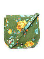 The House of Tara Women Cotton Canvas Crossbody Bag (Multicolour; 8.5x8.5x3 Inches)