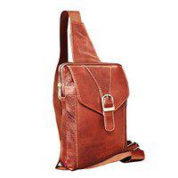 ABYS Genuine Leather Brown Unisex Messenger Bag||Shoulder Bag||Passport Pouch||Neck Pouch||Collage Bag with Adjustable Strap