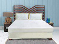 Aspire, Luxury Hotel Collection 300 TC Satin 100% Cotton King Size Bed Sheet, 2 White Pillow Shams with Champagne Border