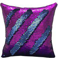 KARTIK Sequin Mermaid Throw Pillow Cover with Magical Color Changing Synthetic Reversible Paulette Design (16x16 Inches, Blue and Pink)