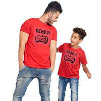 Bon Organik Cotton Ready Player 1 2 Matching dad Son tees(BON4942-SP-RD-MB-Men-L-BOY-12-24M) Red