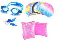 SPANCO Swimming Goggles, Cap with Ear, Nose Plug, Arm Floater. (Pink)