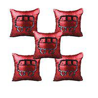 KARTIK Synthetic Sequin Mermaid Throw Pillow Cover with Color Changing Reversible Paulette (Red and Black) Set of 5