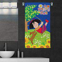 Sassoon 100% Cotton 300 GSM Kids Cartoon Bath Towel for Bathroom Set of 1pc, Multicolor, 58 cm x 116 cm, Girl Happy Day (Copy RIGHTED)