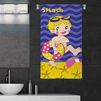 Sassoon 100% Cotton 300 GSM Kids Cartoon Bath Towel for Bathroom Set of 1pc, Blue, 50 cm x 85 cm, Splash (Copy RIGHTED)