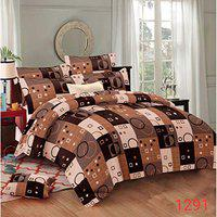Fabture Glace Cotton Check Printed 180 TC Double Bedsheet with 2 Pillow Covers (Standard Multicolur)