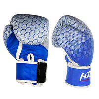 Hitman Force Boxing Gloves | Printed Boxing Gloves | Professional Boxing Gloves | Muay Thai Boxing Gloves | Leather Boxing Gloves for Men, Women, Children | Sparring Gloves | Great for Boxing, Punching, Muay Thai, MMA, Mitt Workout, Cage Fighting (Blue, 12 Oz)