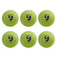 SG SG01SY610007 Rubber Light Weight Cricket Tennis Ball (Color May Vary), Pack of 6
