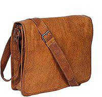 TUZECH Real Leather Small Full Flap Messenger Bag for Unisex Daily use (20 Inches)