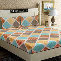Ab home decor 300TC King Size Elastic Fitted Bedsheet with 2 Pillow Covers- 230x245cm-Multicolor
