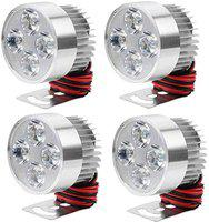 Gadget Deals 4 LED Small Round Auxiliary Bike Fog Lamp Light Assembly White Set of 4 Universal For Bike