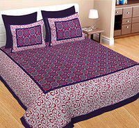 Spangle 104 TC Traditional Jaipuri Cotton Geometrical Printed Double Bedsheet with 2 Pillow Covers (Purple)