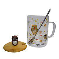 NYRWANA Delivering Smiles in INIDA Ceramic Coffee/Milk Mugs with Owl Cup Lid and Spoon - 1 Piece, Brown, 450 ml