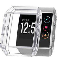 ACUTAS Silicone TPU Protective Frame Case Cover for Fitbit Ionic Smart Watch (Clear)